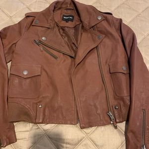 Genuine leather brown jacket by Members Only